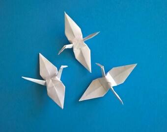 "100 Medium white origami paper Cranes, 4"" White, wedding decoration"