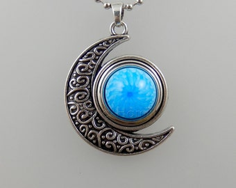 Moon pendant for poppers / snaps / chunks - crescent pendant crescent moon interchangeable.