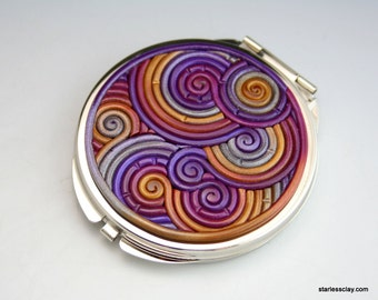 Compact Pocket Mirror in Purple, Gold, Silver Polymer Clay Filigree