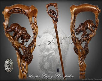 Grizzly Bear & salmon cane wooden walking stick Hiking Staff hand made wood carved walking cane stick handle designer woodcarving for men
