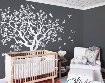 Lage white Family Tree Vinyl Wall Decal with Bird Stickers, decal, mural, wall covering  - NT040