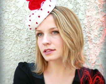 Pillbox hat white and red love heart vintage porkpie style red rose hat