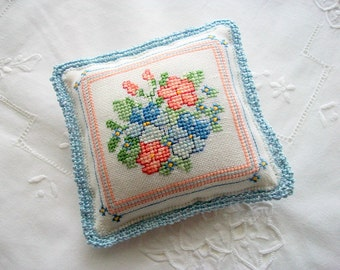 Large Pincushion Hand Embroidered Flower Arrangement with Crochet Edge Handsewn One of a Kind
