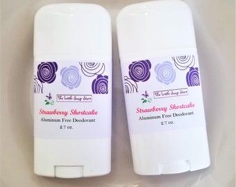 Aluminum Free Deodorant- Strawberry Shortcake, Natural Deodorant, Handmade Deodorant, Deodorant without aluminum, deodorant stick, deoderant