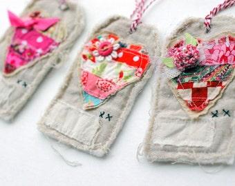 Handmade Valentine Heart fabric tags Set of 3, Heart Fabric tags, Fabric tag, Heart tag, Pretty Packaging, Handmade gift tag