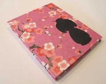 Kokeshi Doll Handmade Notebook Journal: Pink and Black Cherry Blossom Hardbound Coptic Small Book