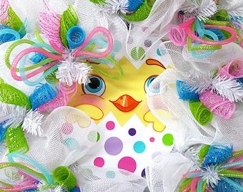 Easter Wreath , Easter Bunny Wreath , Spring Wreath , Easter Mesh Wreath ,  Bunny Mesh Wreath , Easter Decor, Deco Mesh Wreath