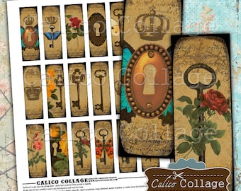Lock and Key, 1X3 Images, Collage Sheet, Microslide Images, Steampunk, Printable, Vintage Images, Image Sheet, Digital Collage