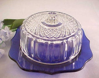 Mid Century Cobalt Blue Covered Kraft Cheese Dish by Imperial Glass From 1940s