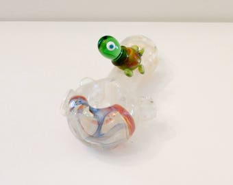 Double Amber Purple & Green Turtle Blue Color Changing Hand Blown Glass Tobacco Pipe with Flower Stamp