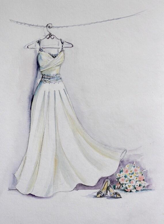 Braut kleid aquarell skizze mit bouquet und braut schuhe - Kleider zeichnen ...