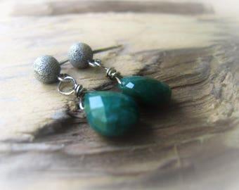 Emerald Earrings Green Teardrop Earrings AAA Gemstone Earrings May Birthstone JE2386