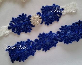 Wedding / Bridal / Royal Blue Garter/ Rhinestone Garter/ wedding garters / bridal garter/ Floral lace garter / Vintage Garter/Garter Set