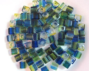 Green Blue Cube Acrylic Spacer Beads
