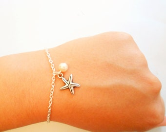 starfish bracelet - beach bracelet - Marine bracelet - silver starfish bracelet - Star bracelet - was bracelet - pearl bracelet