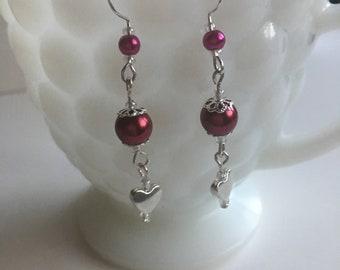 Hearts Earrings, Red Earrings, Dangle Earrings, Women's Dangle Earrings, Women's Earrings, Gifts for Her