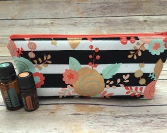 Black and White Stripe Essential Oil Case, Coral Essential Oil Storage Pouch, Essential Oil Travel Case, Essential Oil Bag, Gift Under 20