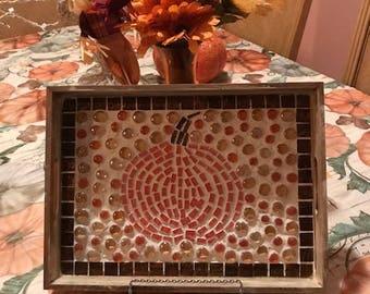Pumpkin Mosaic Wooden Serving Tray