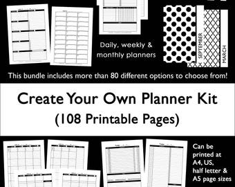 Custom planner kit printable build your own weekly daily monthly undated use for 2018 etc. monday and sunday template pdf instant download