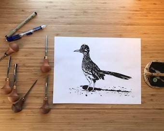 Handprinted Linocut Roadrunner Art Print