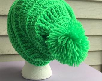 Neon Green Textured Slouchy Hat