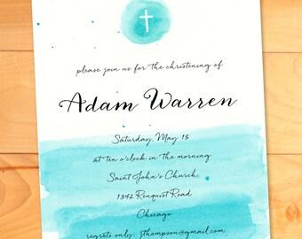 Baptism Invitation, Christening Card, Printable, Watercolor, Cross, Invitation, Blue, Yellow, Boy