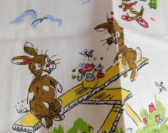 Vintage Springtime Bunnies Kitchen Towel EASTER