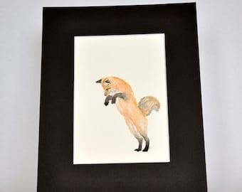 Original Watercolor Red Fox