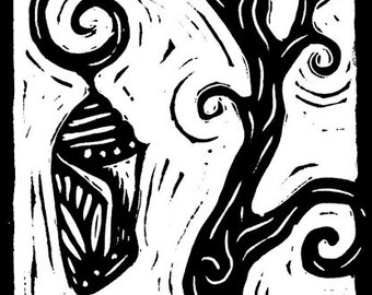 Monarch Chrysalis hanging from crooked tree - linocut print