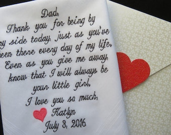 Father of the Bride Hankerchief-Wedding Handkerchief-Embroidered Customized-Wedding hankies-Father in Law-Wedding Gift-Dad of the Bride Gift