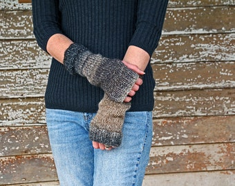 Fingerless Gloves Pattern - Wrist Warmers Knit Pattern - a set of INSTRUCTIONS to knit the gloves - iBELIEVE