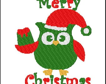 Christmas Owl Embroidery Pattern Design