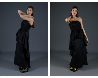 Vintage 80s does Hollywood Black Statement Strapless Gown Prom Dress John Charles