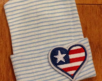 Blue Heart Flag Hospital Beanie