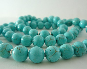 Turquoise Necklace Long Turquoise Necklace Turquoise Bead Necklace Turquoise Strand Turquoise Silver Necklace Turquoise Gemstone Necklace