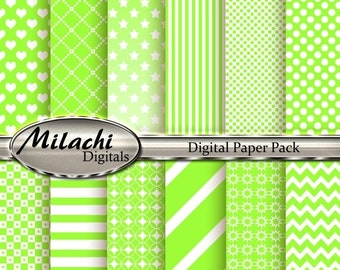 60% OFF SALE Lime Digital Paper Pack - Commercial Use - Instant Download - M13