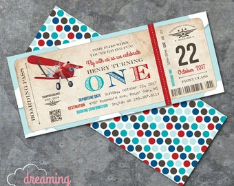 Vintage Red Airplane Airline Boarding Pass Ticket Birthday Invitation