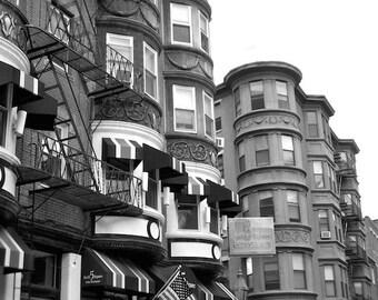 Urban Photo, Black and White Photo, Boston Photography, Row House Photo, Boston Commons Art
