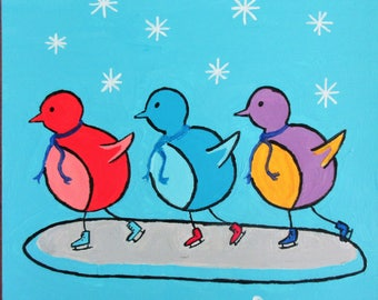 """Skating Birds - A 12""""x 12"""" acrylic painting by Rory, an artist with autism"""