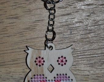 Cross Stitch, Owl Keychain, Pink Colors, Gifts