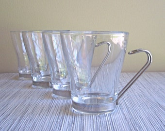Vintage Vitrosax Glass & Steel Tall Cappuccino / Espresso Cups (set of 4) - Italy