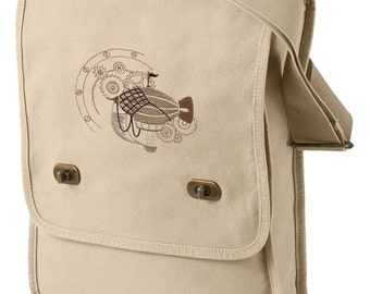 Dirigible Steampunk Airship Embroidered Canvas Field Bag