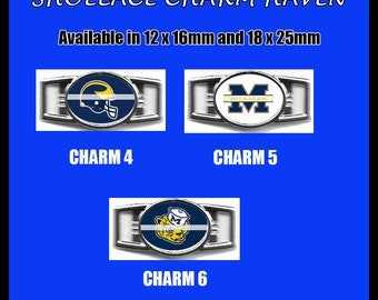 MICHIGAN WOLVERINES Shoelace Charm  Paracord Bracelet Charm Oval Charm 12 x 16mm or 18 x 25mm Charms