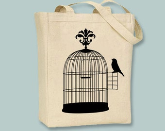 Bird on a Birdcage Silhouette on a Canvas Tote - Selection of sizes available, image can be ANY COLOR