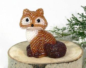 Fox Figurine Miniature Beaded Red Fox Woodland Fantasy Fairytale Gift Hostess Housewarming Gift Stocking Stuffer *READY TO SHIP