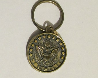 Patriotic Key Chain Fob Featuring 13 Stars and an Eagle