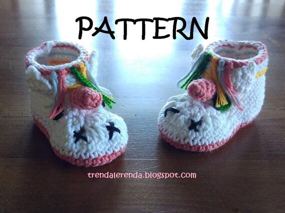 Unicorn Booties Muster Babyhäkelarbeit in Englisch und