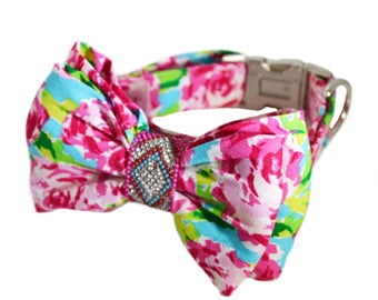 Lilly Dog Bow Tie Collar in Rose motif with Rhinestones