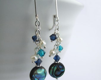 Ocean Sapphire Earrings - Paua Shell, Swarovski Sapphire and Indicolite Crystals, Sterling Silver