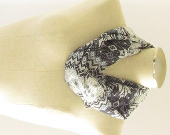Black and Gray Infinity Scarf - Fair Isle Scarf - Black Infinity Scarf